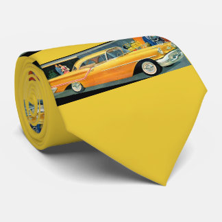 1950s golden Rocket 88 Oldsmobile print Tie