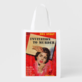 1950s Invitation to Murder Reusable Grocery Bag