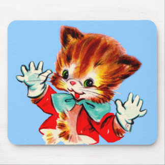 1950s jazz hands kitten mouse pad