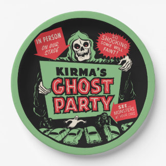 1950s Kirma's Ghost Party Spook Show Poster Design 9 Inch Paper Plate