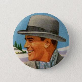 1950s man in his fedora 2 inch round button