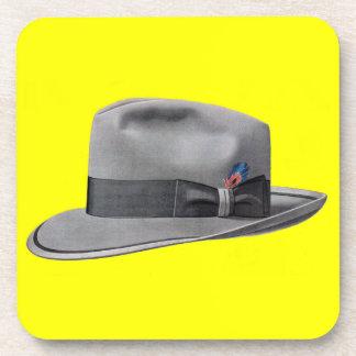 1950s mens fedora hat print coaster