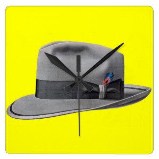 1950s mens fedora hat print square wall clock