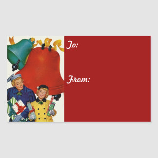 1950s Mom and Daughter Xmas Shopping Rectangular Stickers