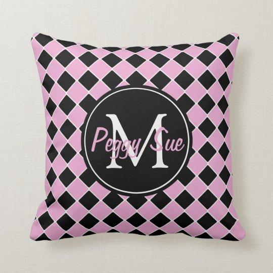 1950's Pink and Black Tile Monogram Throw Pillow