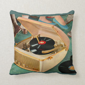 1950s portable record player with records throw pillow