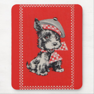 1950s Scottie dog in red Mouse Pad