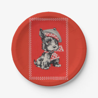 1950s Scottie dog in red Paper Plate