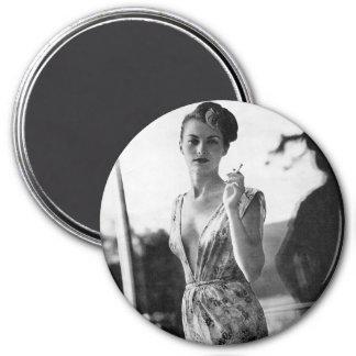 1950s Smoking Showgirl on break 3 Inch Round Magnet