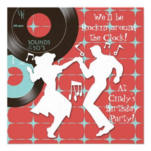 1950 S Theme Birthday Party 5 25 Quot Square Invitation Card