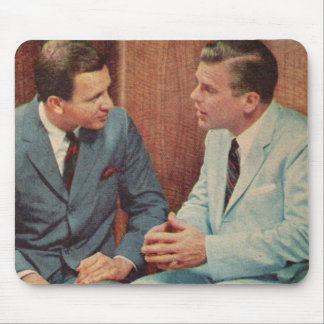 1950s two guys talking mouse pad