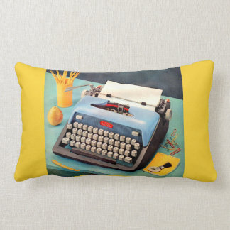 1950s typewriter ad image lumbar pillow