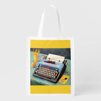 1950s typewriter reusable grocery bag