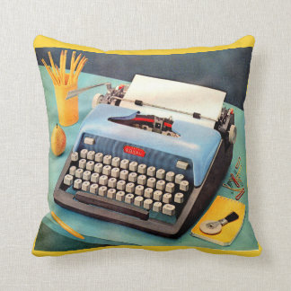 1950s typewriter throw pillow