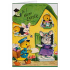 1950s Vintage Happy Easter Animals Card