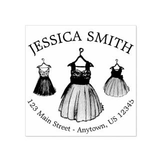 1950s Vintage Shop Retro Prom Dresses Address Rubber Stamp