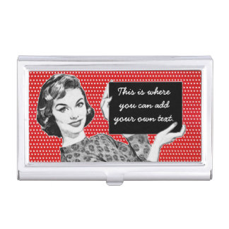 1950s Woman with a Sign Business Card Holder