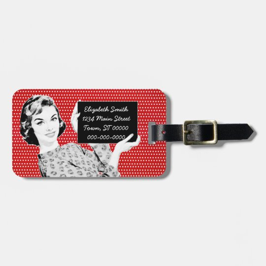 1950s Woman with a Sign Luggage Tag
