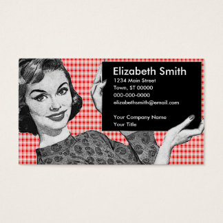 1950s Woman with a Sign V2 Business Card