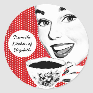 1950s Woman with a Teacup Kitchen Label