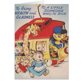 1950s Zoo Animals Get Well Soon Card