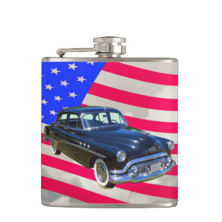 1951 Buick Eight Antique Car And US Flag Flasks