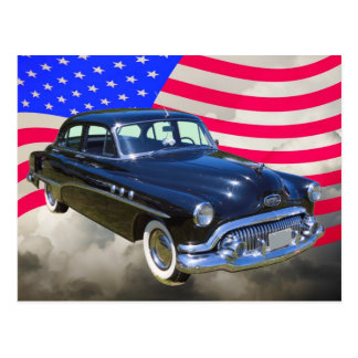 1951 Buick Eight Antique Car And US Flag Postcard