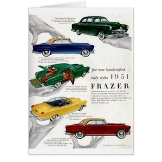 1951 Frazer autombile ad Card
