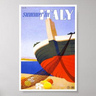 1951 Summer In Italy Italian Vintage Travel Poster
