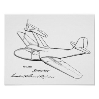 1951 Top Prop Airplane Patent Art Drawing Print
