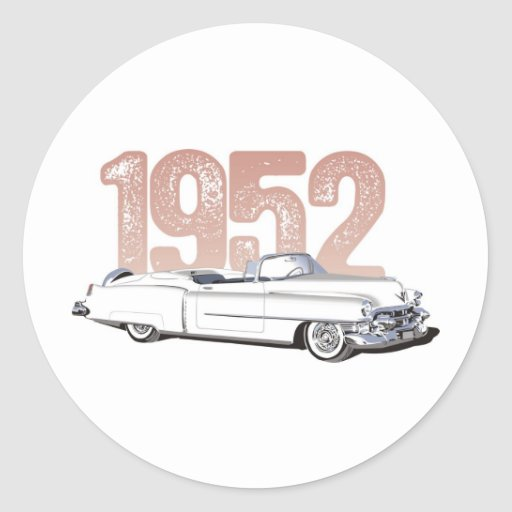 1952 Cadillac Coupe De Ville, white convertible Round Sticker