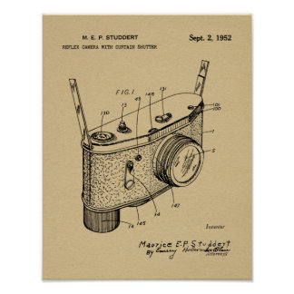1952 Reflex Camera Patent Art Drawing Print