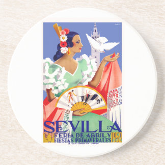 1952 Seville Spain April Fair Poster Coaster
