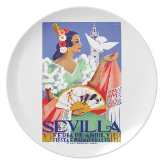 1952 Seville Spain April Fair Poster Dinner Plate
