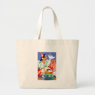 1952 Seville Spain April Fair Poster Large Tote Bag