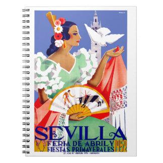1952 Seville Spain April Fair Poster Notebook