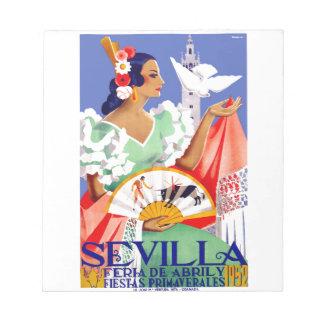 1952 Seville Spain April Fair Poster Notepad
