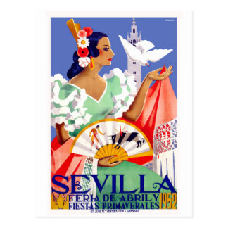 1952 Seville Spain April Fair Poster Postcard