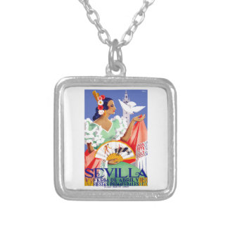 1952 Seville Spain April Fair Poster Silver Plated Necklace
