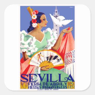 1952 Seville Spain April Fair Poster Square Sticker