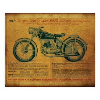 1952 Victoria Motorcycle advert Poster