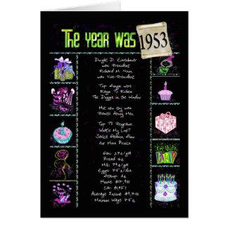 1953 Birthday Year Fun Trivia Card