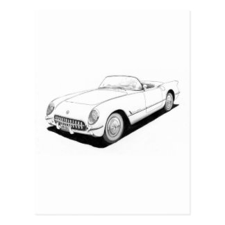 1953 Chevrolet Corvette C1 Artwork Postcard
