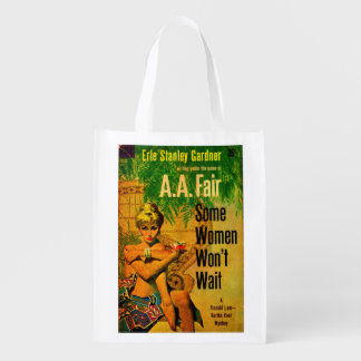 1953 pulp novel cover Some Women Won't Wait Reusable Grocery Bag