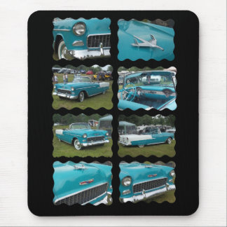 1955 belair collage touquoise and white mouse pad
