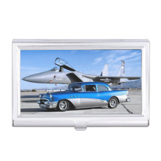 1955 Buick Special Classic Car Fighter Jet Business Card Holder