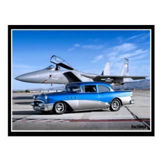 1955 Buick Special Classic Car Fighter Jet Postcard