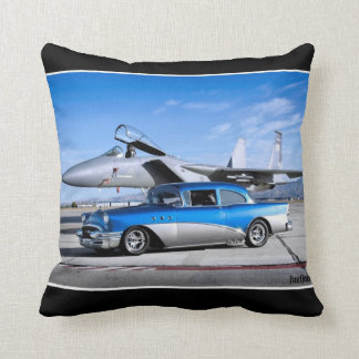 1955 Buick Special Classic Car Fighter Jet Throw Pillow