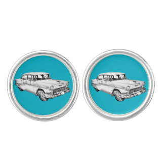 1955 Chevrolet Bel Air Antique Car Illustration Cufflinks