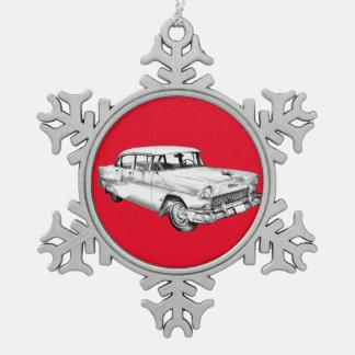 1955 Chevrolet Bel Air Antique Car Illustration Snowflake Pewter Christmas Ornament